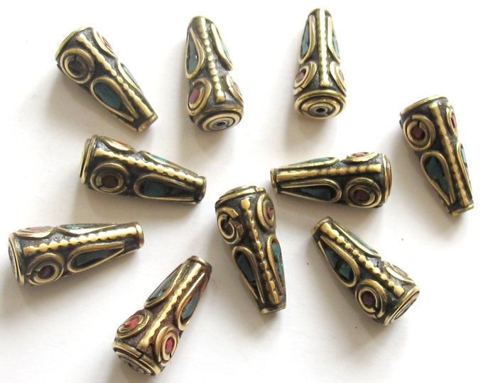 10 Beads - Tibetan beads cone shape brass beads with turquoise coral inlay - nepal beads shop - BD477