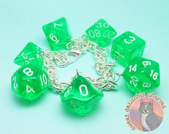 Acid Splash Dice Charm Bracelet - Tabletop D&D Dungeons and Dragons Jewelry - Chunky Chain d20