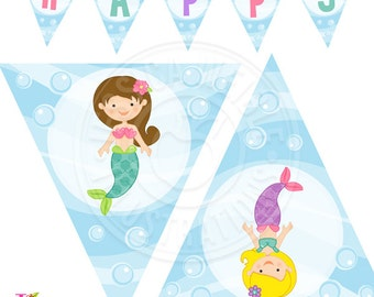 Mystical Mermaids Printable Party Banner, Printable Mermaid Happy Birthday Banner, Mermaid Party Banner, Triangle Banner, Mermaid Banner