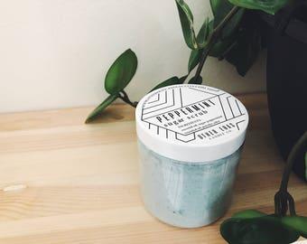 Peppermint Sugar Scrub | 8 oz Tall-Style Jar, exfoliating scrub, coconut oil scrub
