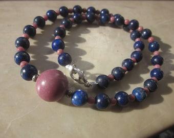Rhodonite dark Lapis Lazuli Necklace