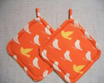 Birds, Orange & Yellow Insulated Pot Holders, Set of 2, Hot Pad, Trivet, Potholder, For the Kitchen, For the Cook