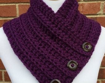 Boston Harbor Scarf, Crochet Cowl, Crochet Purple Cowl, Chunky Cowl, Bulky Scarf with Buttons, Neck Warmer, Gift For Her, Handmade