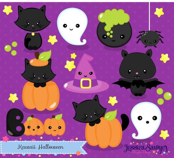 INSTANT DOWNLOAD Kawaii Halloween Clipart and Vectors for (570 x 517 Pixel)