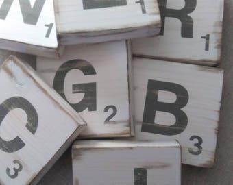 SCRABBLE WOOD LETTERS, Gallery Wall Scrabble, Scrabble Tiles, Home Decor, Distressed Scrabble