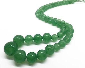 6-14mm Green Jade Beads, Graduated Round Beads, Gemstone Beads, Wholesale Beads