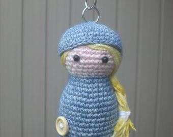 Crochet doll Keychain/Crocheted doll keychain