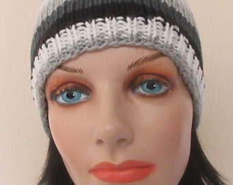Gray Black and White Knit Beanie, Gender Neutral Hat, Snow Playing, Ice Skating, Hockey Dad, Hockey Mom, Gray Striped Beanie