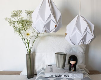Elegant origami lamp | snow white pendent light | Contemporary and scandinavian design for your home perfect for your living room or bedroom