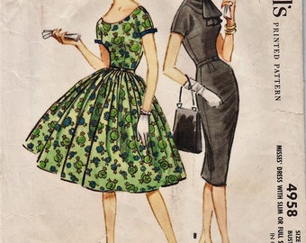 McCalls 4958 / Vintage 50s Sewing Pattern / Dress / Size 14 Bust 34