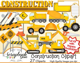 CONSTRUCTION Clipart, 27 png Clipart files Instant Download tractor dumptruck backhoe cement truck roadwork tools hammer screwdriver wrench