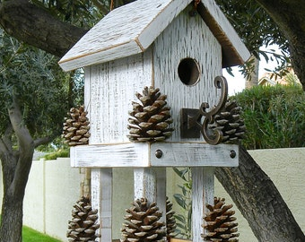 Bird House White Bird House and Feeder  364