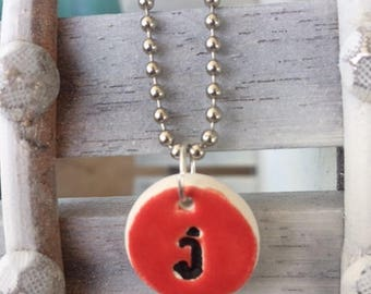 Kiln Fired Personalized Initial Necklace Bold Red