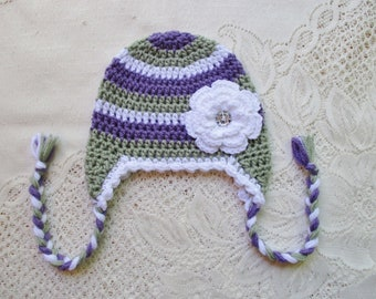 READY TO SHIP - 1 to 3 Year Size - Sage Green, Medium Purple & White Striped Crochet Hat with Flower - Winter Hat or Photo Prop