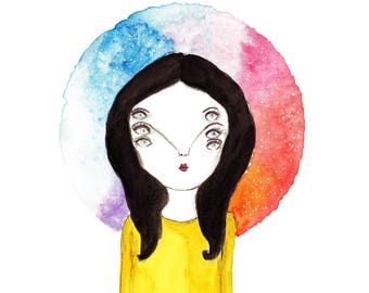 Head in Space, Art Print, Illustration, Watercolour, Trippy Eyes, Quirky Art, Outsider Art, Surreal Art, Galaxy Art