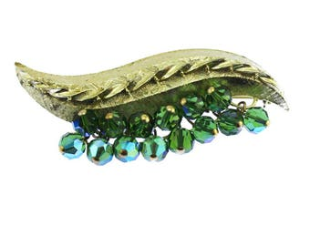 Gold Leaf Brooch with Green Bead Fringe, Green and Gold Brooch, Gold and Green Brooch, Gold and Green Pin