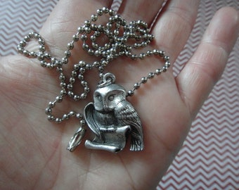 Silver Toned Hedwig the Owl Charm Necklace