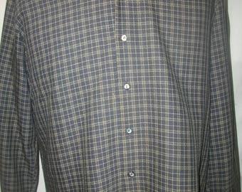 Vintage 70's Kweejibo San Francisco Long Sleeve Plaid Rayon Shirt Sz Med