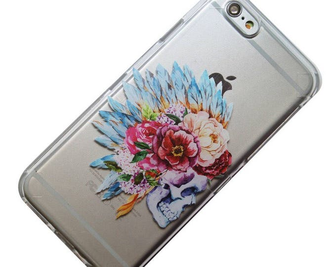 Featured listing image: Anemones and Skull Floral Headdress iPhone Case, Phone Case, iPhone 6, iPhone 5, iPhone SE, iPhone 5, iPhone 6 Plus, Phone 7 Plus, Galaxy s7