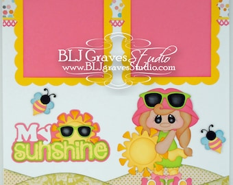 Premade Scrapbook Page My Sunshine Girl Layout Paper Piecing 12x12 Handmade 71