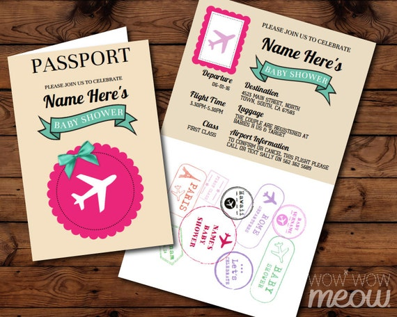 Passport baby shower invitation download pink airline ticket passport baby shower invitation download pink airline ticket invite flight plane girl twins couple airplane fly cream personalize printable filmwisefo Image collections