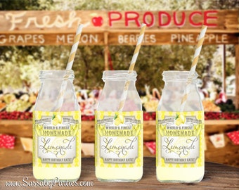 Farmers Market Lemonade Labels - INSTANT DOWNLOAD - Editable & Printable Birthday Party Decorations by Sassaby Parties