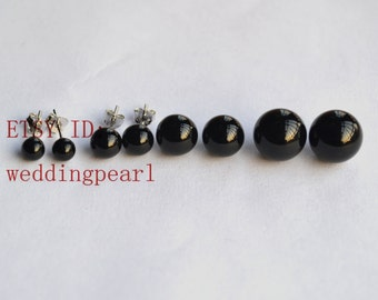 SELECT SIZE,black earrings, round agate earrings,black stud earrings,black agate earing studs,sterling silver stud,round stone earings studs