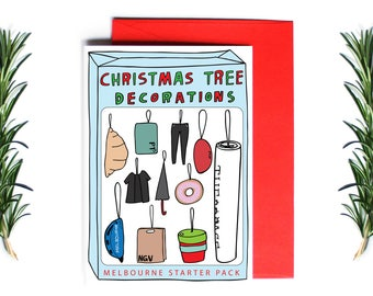 Christmas Card - Christmas Tree Decorations - Melbourne Starter Pack | Greeting Card | Holiday Card | Melbourne Christmas Card