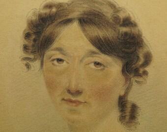 Antique Regency Miniature Watercolor Portrait by Joseph Slater Jnr England dated 1814