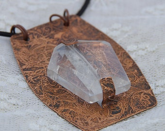 Etched Copper and Quartz Necklace
