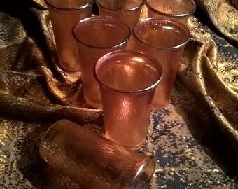 Carnival Glass Juice Glasses In Marigold Tree Bark Set of 7