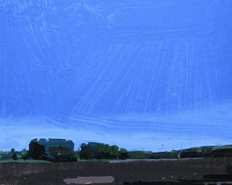 Morning Field, Original Summer Landscape Collage Painting on Panel, Ready to Hang, Stooshinoff