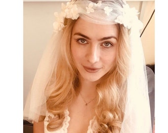 Vintage style wedding veil  in ivory tulle with hand sewn flowers.