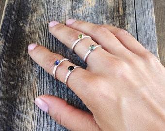 Gemstone ring - sterling silver ring - stacking ring - 4mm gemstone