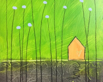 Original wall art painting, house, love shack, flowers