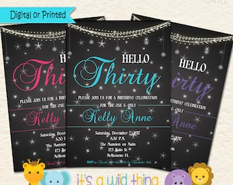 Thirtieth Birthday • Dirty 30 • Thirty and Flirty Invitation • Hello 30 • Hello Thirty • 30th Birthday Invitation • 30th birthday Ideas 041d