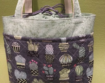 Green&Gray Cactus Insulated Drawstring Lunch Bag