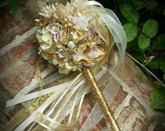 Champagne Gold Blush Ivory Flower Girl Wand Custom Order