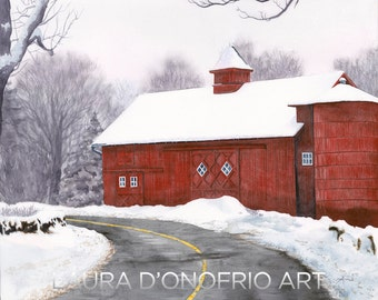 """Red Barn in Connecticut, """"Winter Red,"""" Watercolor Giclee Print, Artwork by Laura D'Onofrio"""
