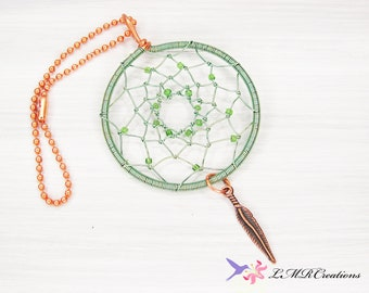 Dream Catcher Hanging Window Decoration, Copper and Green Wire Dream Catcher, Nursery Decor, Rear View Mirror Accessory