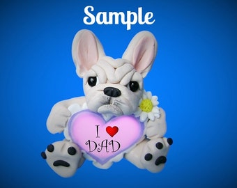 French Bulldog Sculpture / white / cream colored Father's Day love DAD OOAK Clay dog art by Sally's Bits of Clay