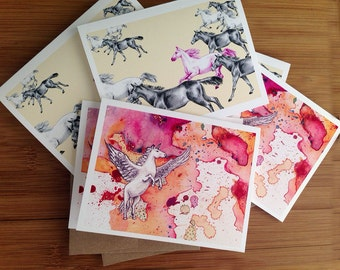 Equestrian Gift, Variety Pack, Boxed Cards, Horse Watercolor, Unicorn Gift, Fun BFF Gift, Pegacorn, Greeting Cards, Horse Lover, Equine