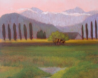 Skagit Valley and North Cascade  Oil Painting on Copper Peaceful  Desk or Table Art Birch Branch Twig Stand OOAK