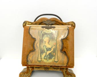 Antique 1800s Photo Album on Wood Stand...Celluloid & Velvet Cover...Victorian Woman in Dress...Stash Drawer...Metal Lock...White Gold Pages