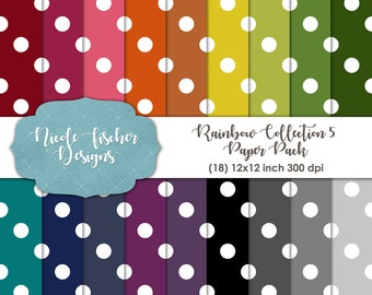 Rainbow Dot Paper Pack -INSTANT DOWNLOAD