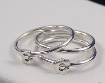 Initial Ring, Sterling Silver Stacking Initial Ring