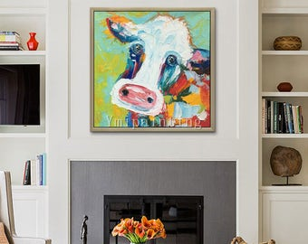 Cow painting On Canvas Cow art canvas Farm animal painting Original oil painting,Cows,impasto,heavy texture,palette knife ,Wall Art