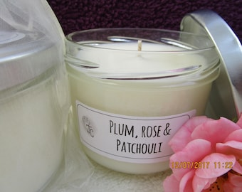 Damson, Rose & Patchouli scented Soy Candle