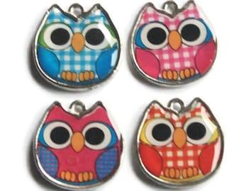 4 Owl Charm Silver Tone Pendant - Bracelet Jewellery - Findings UK - Blue Pink Orange Gingham - 19mm - C12