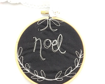 Noel freehand embroidered chalkboard style decorative hanging hoop